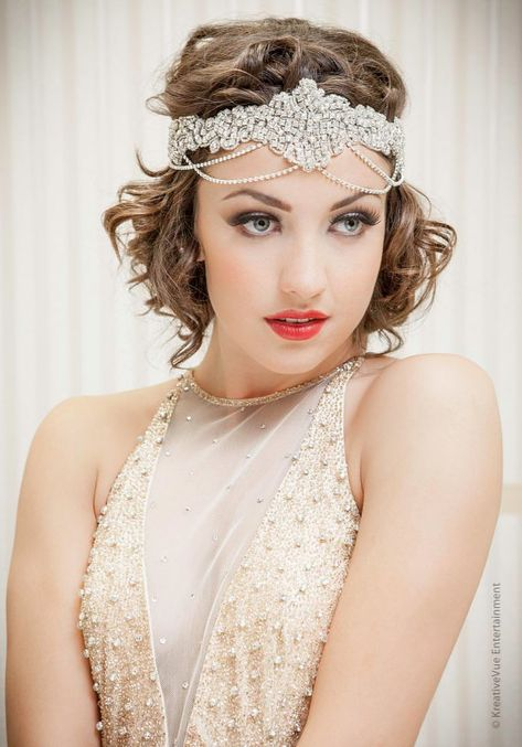 "What A Betty, Beautiful Headbands, Hats and Headwear for Beautiful Women, Girls and Babies, Bridal Great Gatsby ""Alicia"" Crystal Chain Headband"