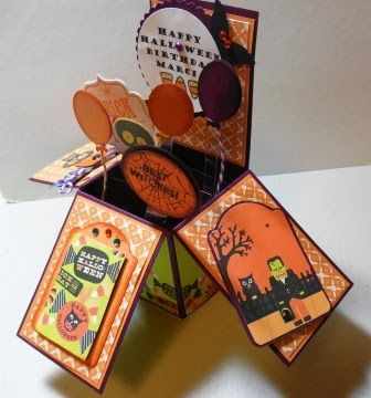 373 -PENNY TOKENS STAMPIN SPOT Halloween Birthday Card for someone very special! Check out the Box Card tutorial on my blog.  http://pennytokensstampinspot.blogspot.com/2014/12/moving-box-card.html
