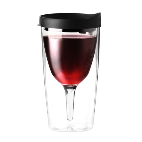 Yep, it's a thing - a travel mug just for wine.  Is it bad that I kind of want one?  Vino 2 Go Wine Tumbler In Black