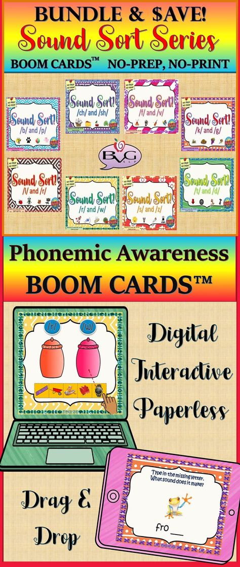 Speech Therapy BOOM CARDS BUNDLE Sound Sort Articulation - Teletherapy