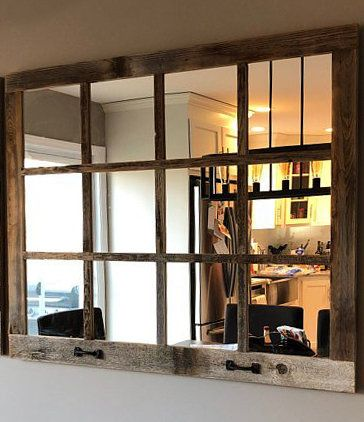 46x 36 Farmhouse Wall Decor Window Mirror Rustic Etsy Window Pane Mirror Rustic Mirrors Rustic Window