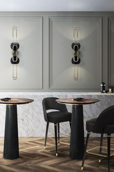 A black and grey inspired bar, which transmits a cool and peaceful ambiance. Learn more about this project at insplosion.com!  #inspirational #interiordesign #interiordesigninspiration #barinspiration #blackandgreybar #luxurybar