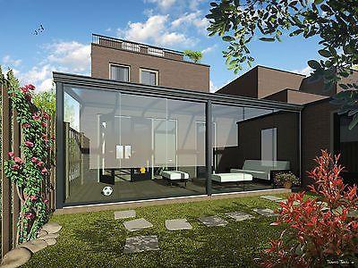 details zu ▻▻terrassendach ▻ 5 x 3 m alu anthrazit vsg glas 8mm, Hause deko