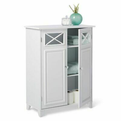 White Floor Cabinet Cupboard With 2 Doors 3 Shelves Bathroom Kitchen Storage In 2020 Diy Bathroom Storage Bathroom Linen Cabinet Bathroom Floor Cabinets