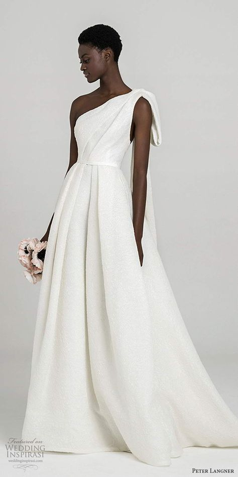 peter langner fall 2020 bridal sleeveless one shoulder asymmetric neckline pleated bodice minimally embellished a line ball gown wedding dress chapel train (13) mv -- Peter Langner Fall 2020 Wedding Dresses | Wedding Inspirasi  #wedding #weddings #bridal #weddingdress #weddingdresses #bride #fashion #italy #label:PeterLangner #season:Fall/Winter #week:462019 #year:2020 ~