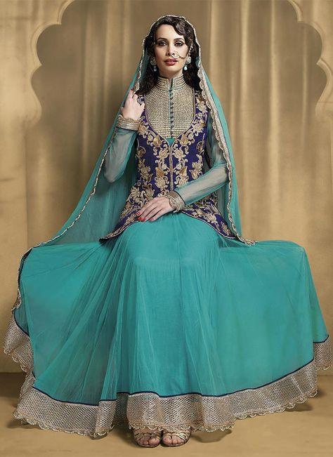 Turquoise Blue Net Ankle Anarkali Suit @ $75