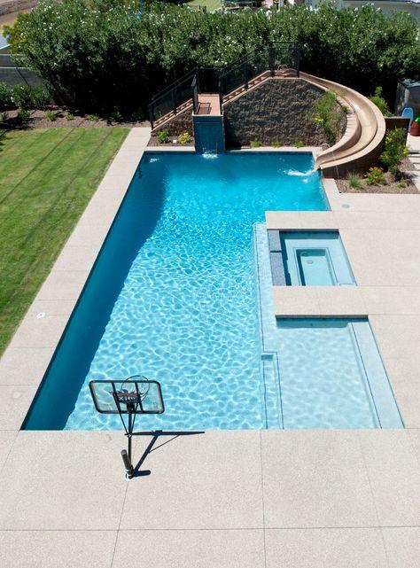 Backyard fun - contemporary - pool - phoenix - by on site landscape Small Backyard Pools, Backyard Pool Landscaping, Backyard Pool Designs, Swimming Pools Backyard, Swimming Pool Designs, Outdoor Pool, Indoor Pools, Small Pools, Pool Decks
