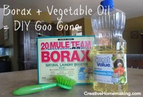 This homemade version of goo gone works great to remove sticker and label residue from glass and plastics.