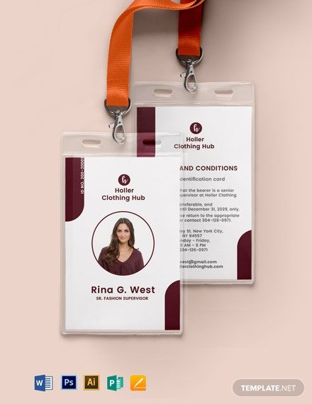 Printable Office Id Card Template Word Doc Psd Apple Mac Pages Illustrator Publisher Id Card Template Card Templates Printable Birthday Card Template