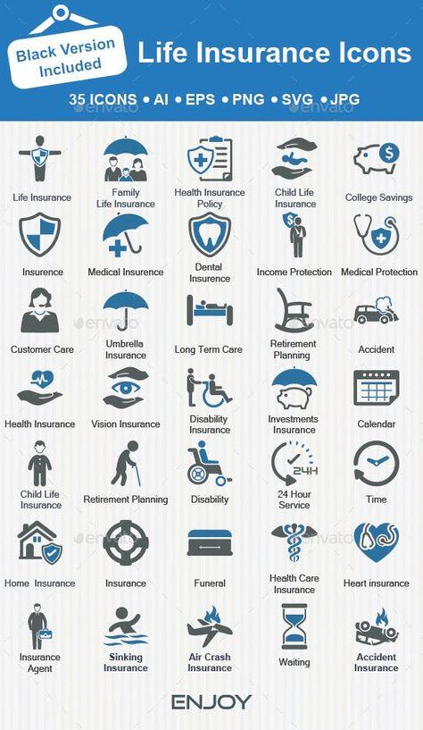 Life Insurance Icons Care Dental Insurance Family Family