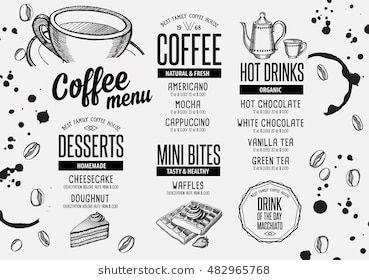 Coffee Menu Placemat Food Restaurant Brochure Cafe Template Design Vintage Creative Beverage Flyer With Hand Dra Restaurant Brochures Coffee Menu Vanilla Tea
