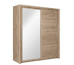 Armoire 2 Portes Coulissantes L 150 Cm Glass Imitation Chene Porte Coulissante Armoire Coulissante Armoire 2 Portes