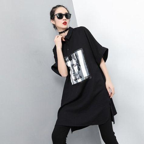 Korean Fashion Ladies Printed Tops - Black / One Size / China