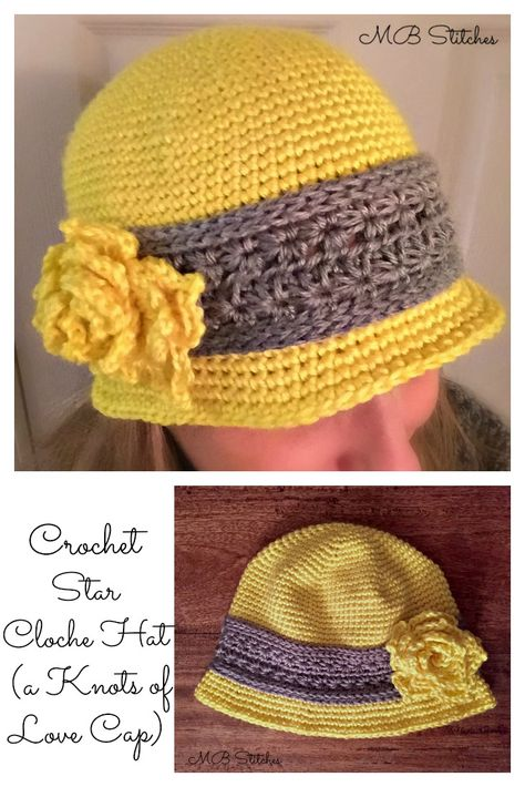 Crochet Crochet Star Cloche Hat - a Knots of Love Chemo Cap Love, Star Cloche Hat - a Knots of Love Chemo Cap Chemo Cap - Crochet Star Cloche Hat - Free pattern! Knit and crochet. Crochet Adult Hat, Crochet Beanie Pattern, Crochet Cap, Crochet Gifts, Crochet Stitches, Crochet Patterns, Doll Patterns, Flower Patterns, Chemo Caps Pattern