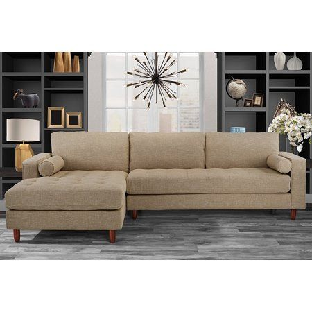 Home Fabric Sectional Sofas Beige Couch Living Room L Shaped Couch