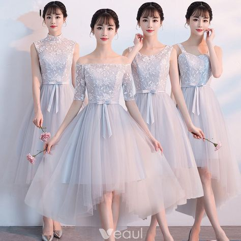 439012ba3 High Low Grey Bridesmaid Dresses 2018 A-Line / Princess Appliques Lace Bow  Sash Asymmetrical Ruffle Backless Wedding Party Dresses