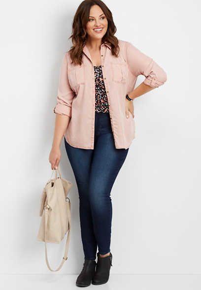 e33861f17 plus size Everflex™ high rise dark stretch skinny jeans   Plus size ...