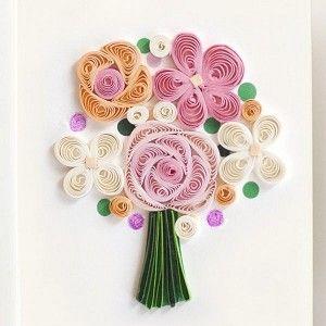Quilling Card Flower Bouquet Enclosure Card Elle Quilling