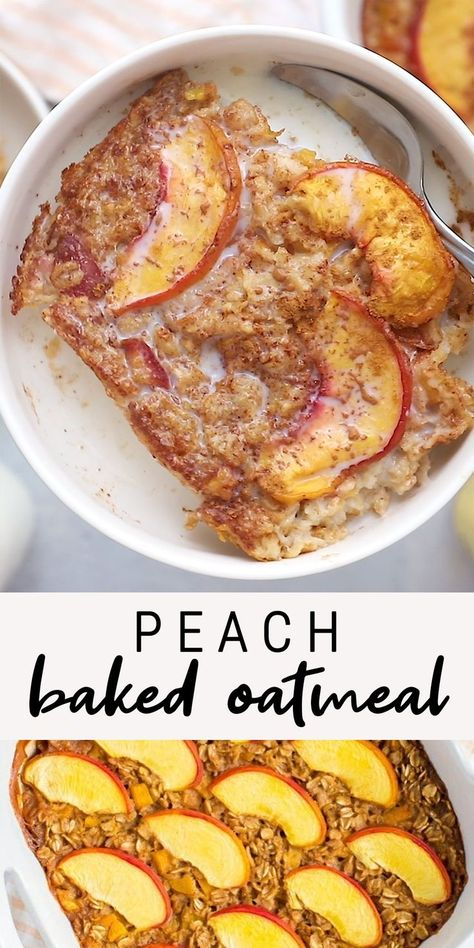 A healthy baked oatmeal recipe using one of my favorite summer fruits: peaches! Make ahead for meal prep or a weekend brunch. A healthy baked oatmeal recipe using one of my favorite summer fruits: peaches! Make ahead for meal prep or a weekend brunch. Healthy Meal Prep, Healthy Breakfast Recipes, Healthy Snacks, Healthy Sweets, Healthy Easy Food, Healthy Recipes For Kids, Healthy Cold Lunches, Vegan Breakfast Casserole, Desserts