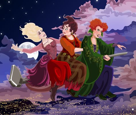 Winifred, Mary and Sarah the Sanderson Sisters Witches flying into the night from Hocus Pocus