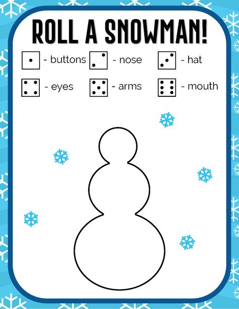 Roll A Snowman Dice Game for kids