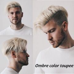 Brown Roots 60 Platinum Blonde Ombre Color Human Hair Mens Toupee For Sale Light Blonde Hairpiece 10x8 Blonde Hair Boy Men Blonde Hair Platinum Blonde Ombre