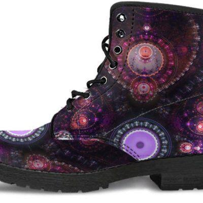Fractal Mandala Women/'s Leather Boots