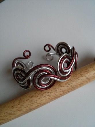 Bracelet spirales 2 couleurs taille réglable Fil aluminium  : Bracelet par cathybijoux