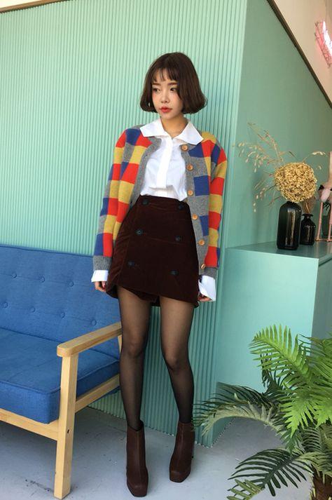 [Stylenanda] Buttoned Check Pattern Cardigan