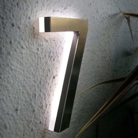 Modern 5 Outdoor Led House Number In Brushed Aluminum Luxello Led Led House Numbers Led House Modern House Number