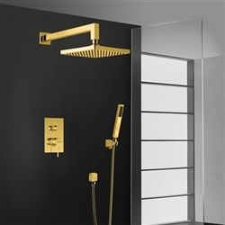 Buy Bravat Wall Mount Gold Square Shower Head With Hand Held