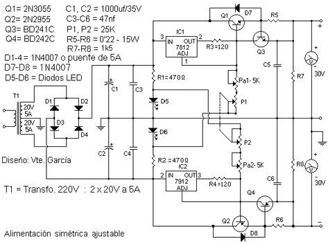 In The Scheme Diagram Below We Present 0 30v 5a Adjustable Symmetrical Power Supply That Can Cover A Wide R Power Supply Circuit Power Supply Circuit Diagram