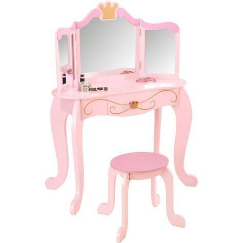 Princess Vanity Set With Mirror Girls Vanity Table Girls Bedroom Furniture Kids Vanity