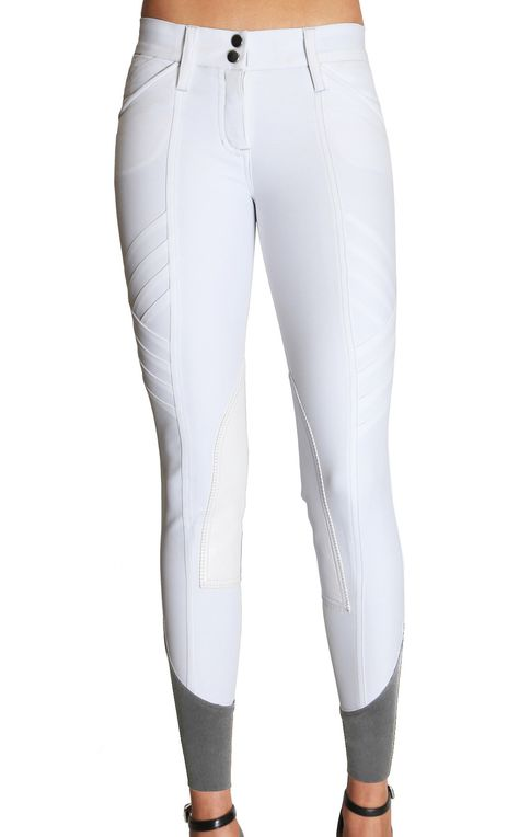 Color: White Fabric: 68% Micro Nylon, 24% Bamboo, 8% Elastane Machine Washable PLEASE CHECK OUR SIZE CHART BEFORE ORDERING AS OUR SIZES RUN DIFFERENT THAN OTHER BRANDS. As part of GhoDho's new show breech line, the Pandora breech is classic luxury with an edge. In an elegant warm white color, it features intricate seaming details, faux alligator white colored knee patches, dual button hooks on 2