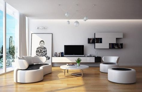 Exceptionnel Salon Moderne Blanc Et Noir Avec Meubles Design Et Sol En Parquet Flottant