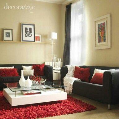 Idée déco  des touches de couleur dans votre salon - Elle - deco salon rouge blanc noir