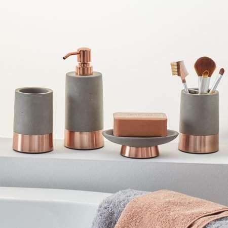 Modrn 4 Piece Concrete With Copper Accent Bath Accessory Set Walmart Com In 2021 Copper Bathroom Accessories Bath Accessories Set Bathroom Accessories Sets