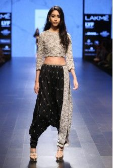 Payal Singhal Indian Wear Collection : : Vida : Dove Grey Dupion Silk Pearl And Gold Embroidered Crop Top Worn With Black And Dove Grey Scalloped Side Seam Low Crotch Pants.