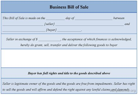 Business Sale Form - Business sale form shows how a contract - bill of sale for goods