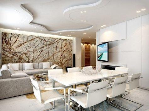 wohnzimmer mit essbereich in weiß und grau und kreative, Wohnzimmer