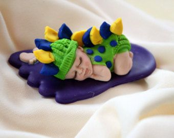 "BABY with Bottle and Blanket ~ KEEPSAKE GIFT ~ POLYMER CLAY BABY BOY 2.5/"".."
