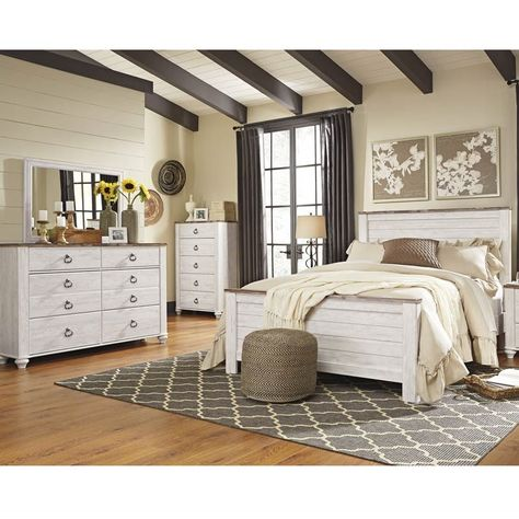 charming antique white wash furniture | The Willowton Two Tone White Wash 5 Piece Queen Bedroom ...
