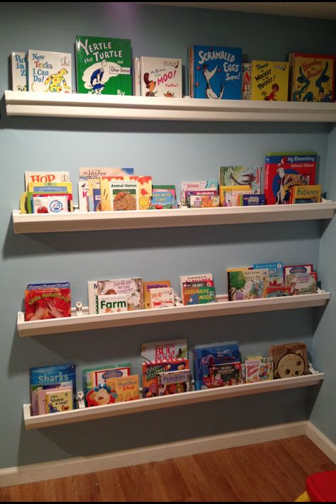 Daycare room setups on pinterest home daycare toddler for Plastic rain gutter bookshelf
