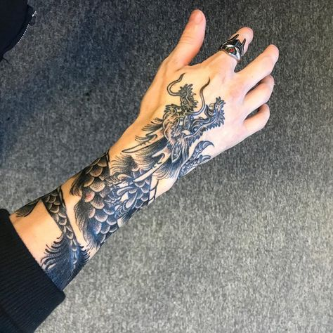 Chinese dragon created by Raine Knight, Second City Tattoo in Birmingham . - Chinese dragon created by Raine Knight, Second City Tattoo in Birmingham – Tattoos – Chinese dr - Dragon Hand Tattoo, Dragon Tattoo For Women, Hand Tattoos For Women, Japanese Dragon Tattoos, Tattoos For Guys, Chinese Tattoos, Dragon Tattoo Designs On Hand, Japanese Hand Tattoos, Dragon Tattoo Drawing