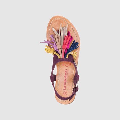 Sandales plates Gorby, cuir, pompons frangés multicolores