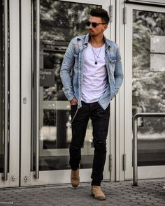 Life-Changing Style Tips for College Men. White tee, denim jacket, black jeans, Chelsea boots Click image to view more.