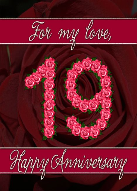19th Wedding Anniversary With Numbers Made From Roses Card Ad Ad Anniver Wedding Anniversary Cards 30th Wedding Anniversary Card 26th Wedding Anniversary
