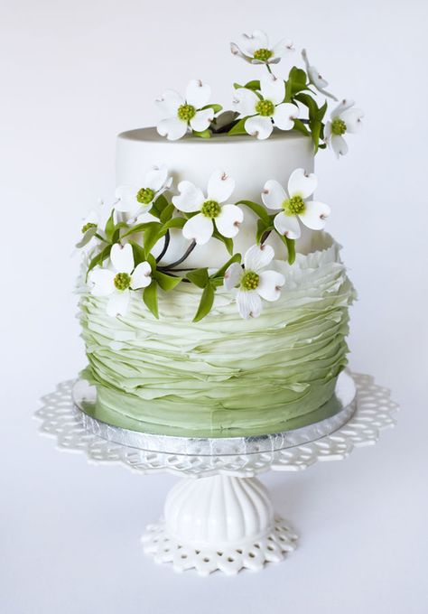 Pretty White Flowers & Pale Mint Green Frills Cake