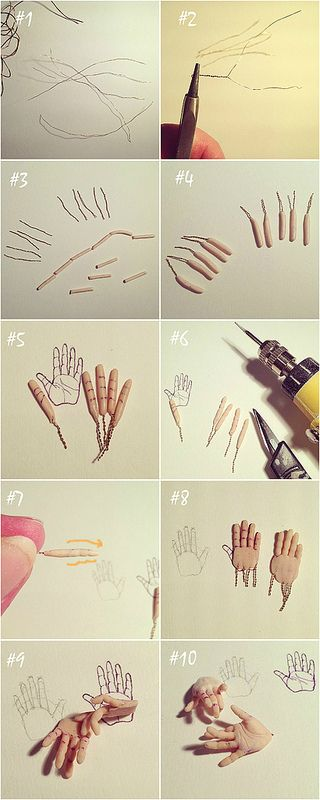 Great hand tutorial for art dolls or bjd