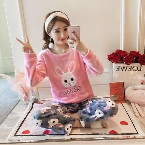 bafed71195 Winter Hot Thick Women Coral Velvet Pajama Set Home Wear Sleepwear Suit  Warm Soft Korean Cute Rabbit Two Pieces Suits Girl